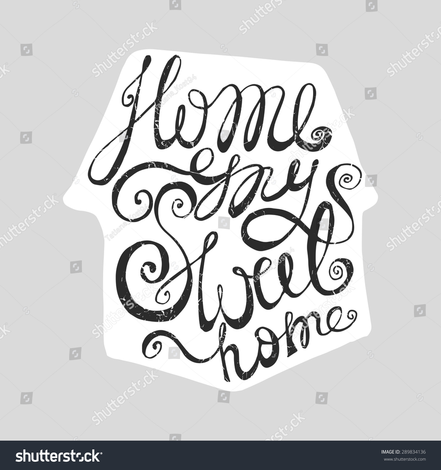 Sweet home handwritten lettering modern doodle stock