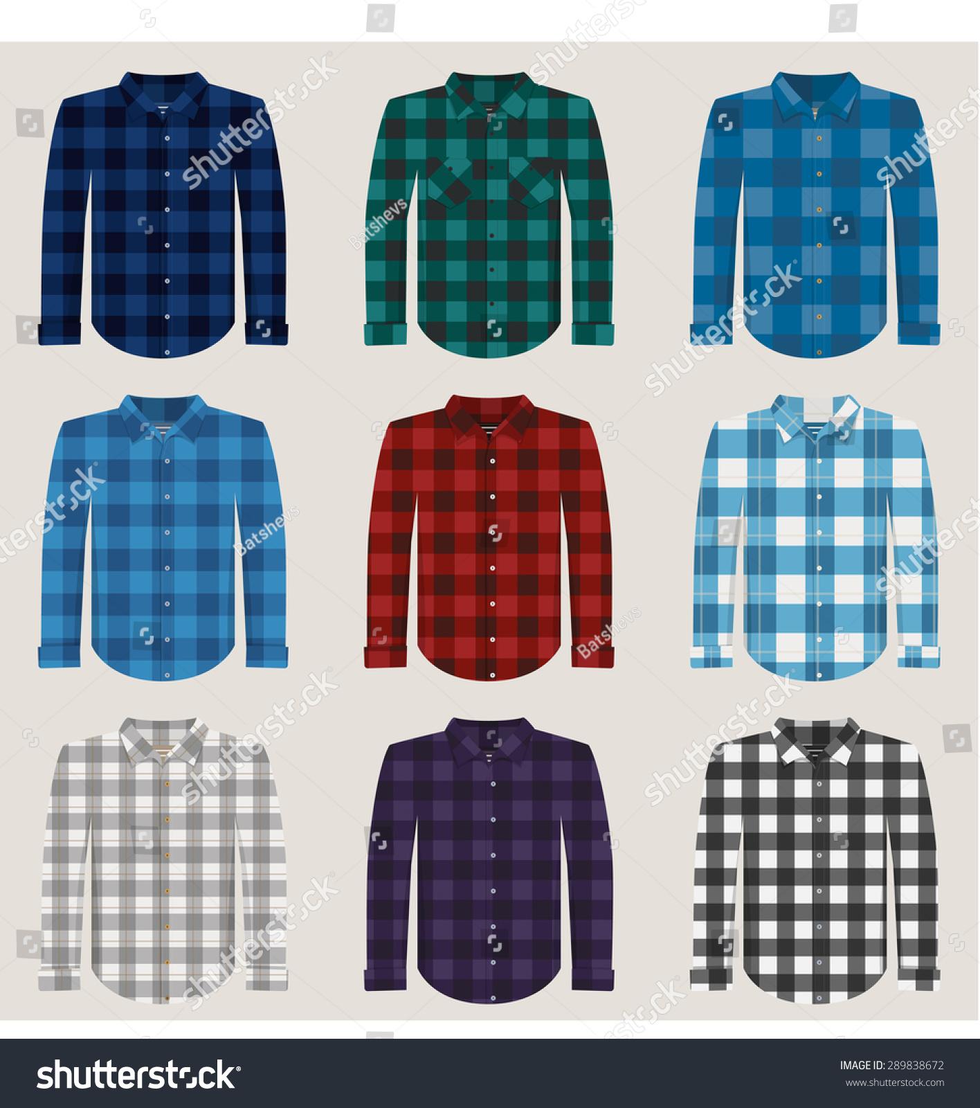 Plaid Patterned Shirts Men Vector Set Stock Vector 289838672 ...