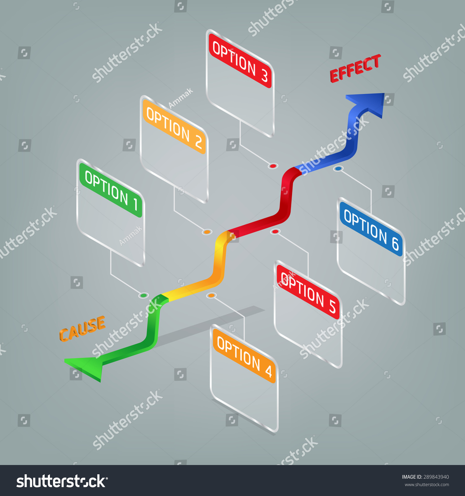 Cause Effect Diagram Option Step Infographic Stock Vector (Royalty ...