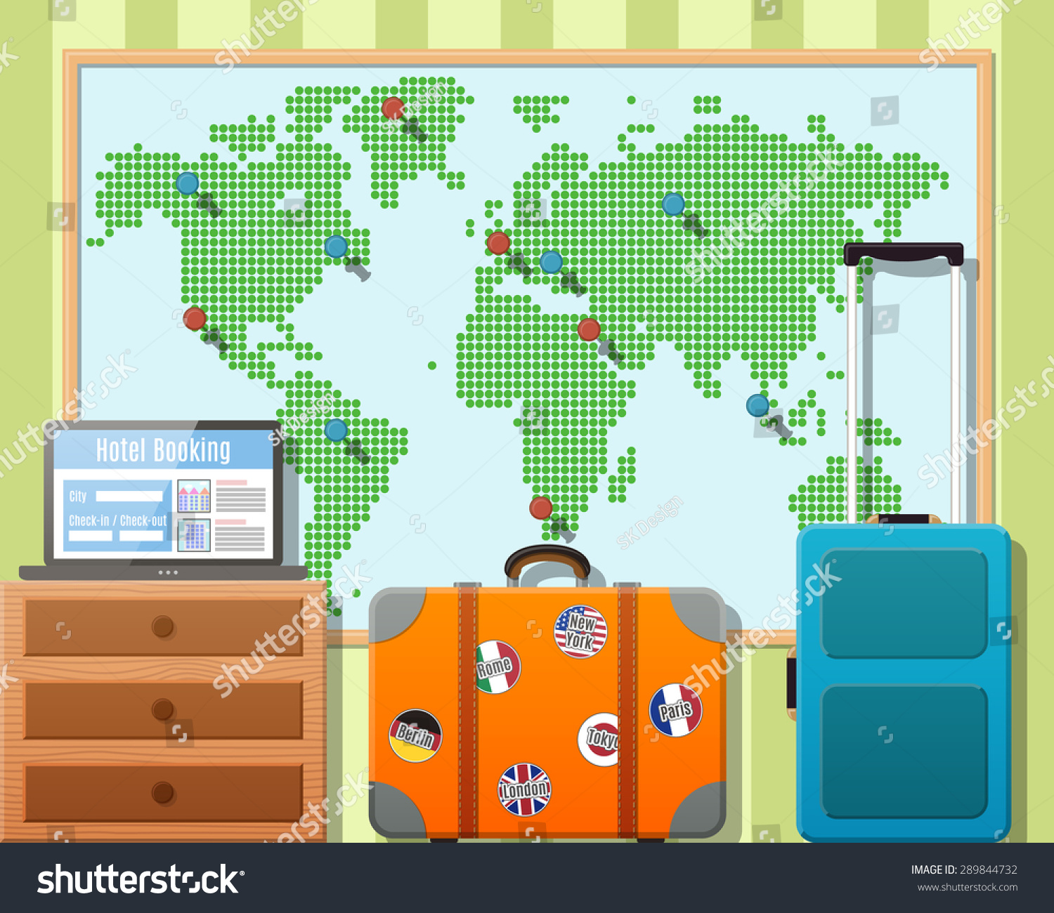 Travel suitcases stickers world map travel stock vector 289844732 travel suitcases with stickers and world map travel around the world concept vector flat gumiabroncs Images