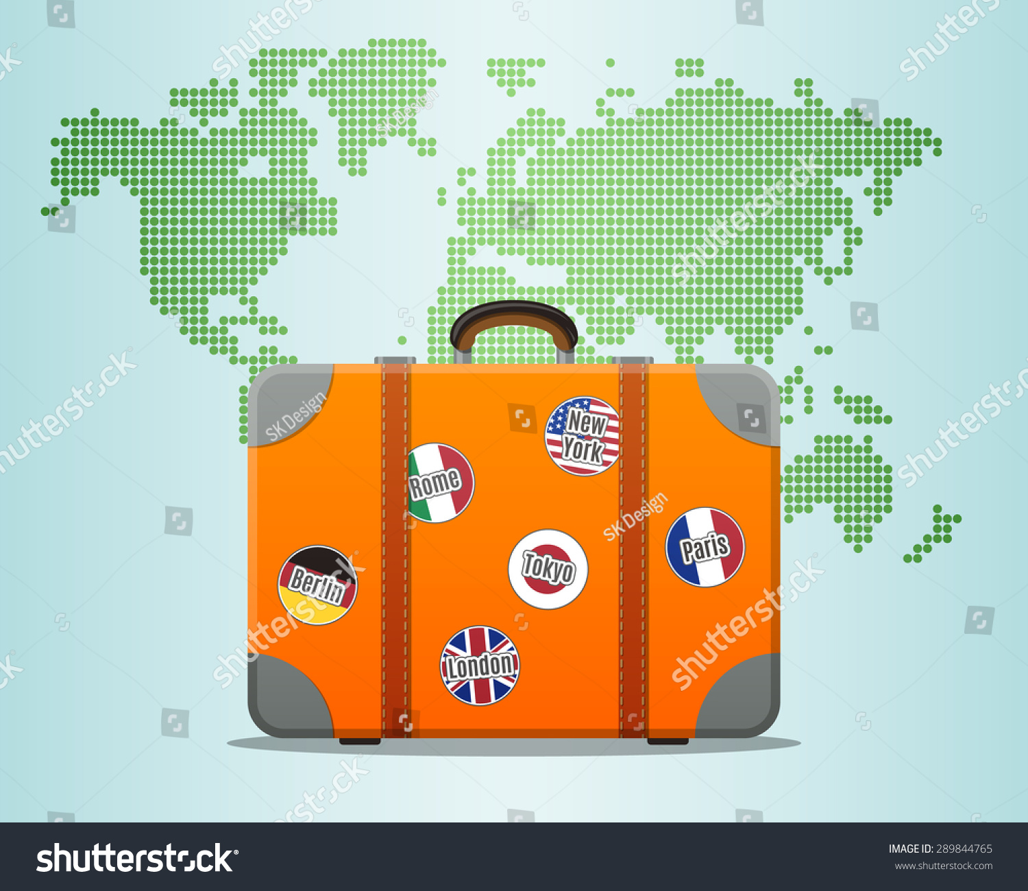 Travel suitcase stickers world map stock vector 289844765 shutterstock travel suitcase with stickers and world map gumiabroncs Image collections