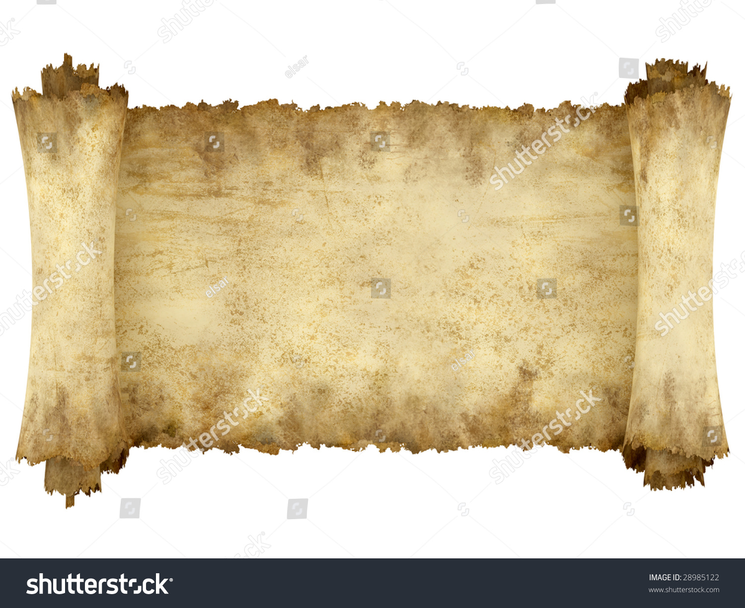 Manuscript Horizontal Burnt Rough Roll Of Parchment Paper ...