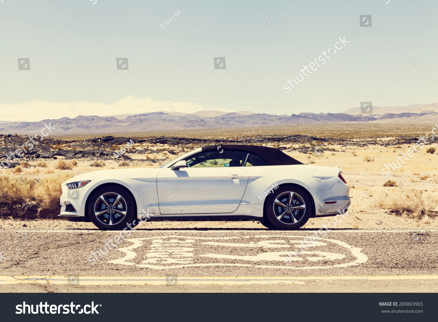 CALIFORNIA USA JUNE 19 2015 Photo of a sixth generation Ford Mustang 2015 at Route 66 California USA
