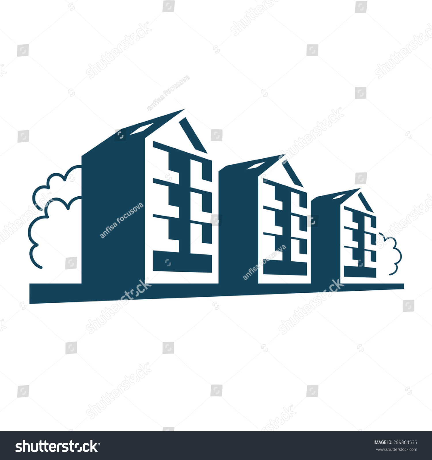 Vector logo group apartment houses simple stock vector for Apartment design vector