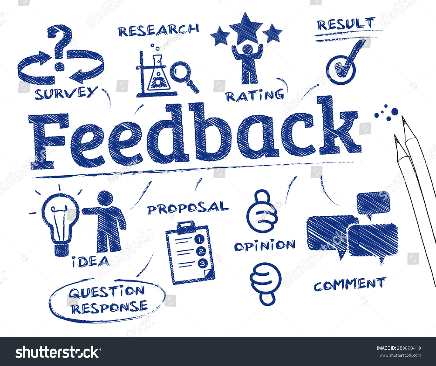Feedback. Chart with keywords and icons #289890419