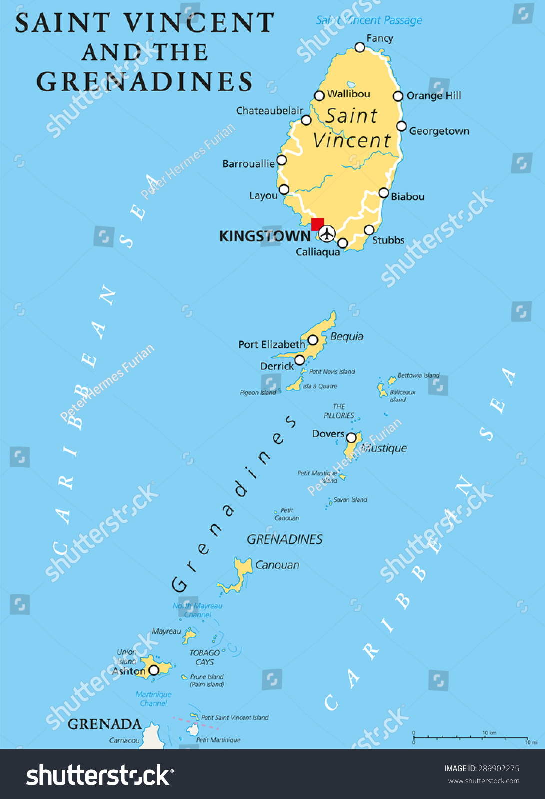 Saint Vincent Grenadines Political Map Capital Stock Photo Photo
