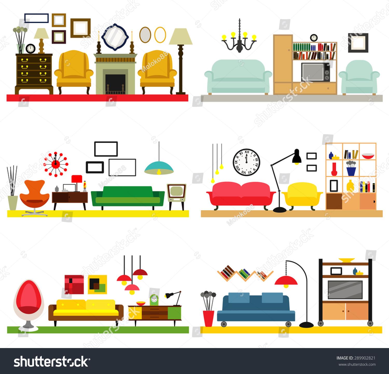 Cartoon Living Room: Cartoon Living Rooms Furniture Flat Style Stock Vector