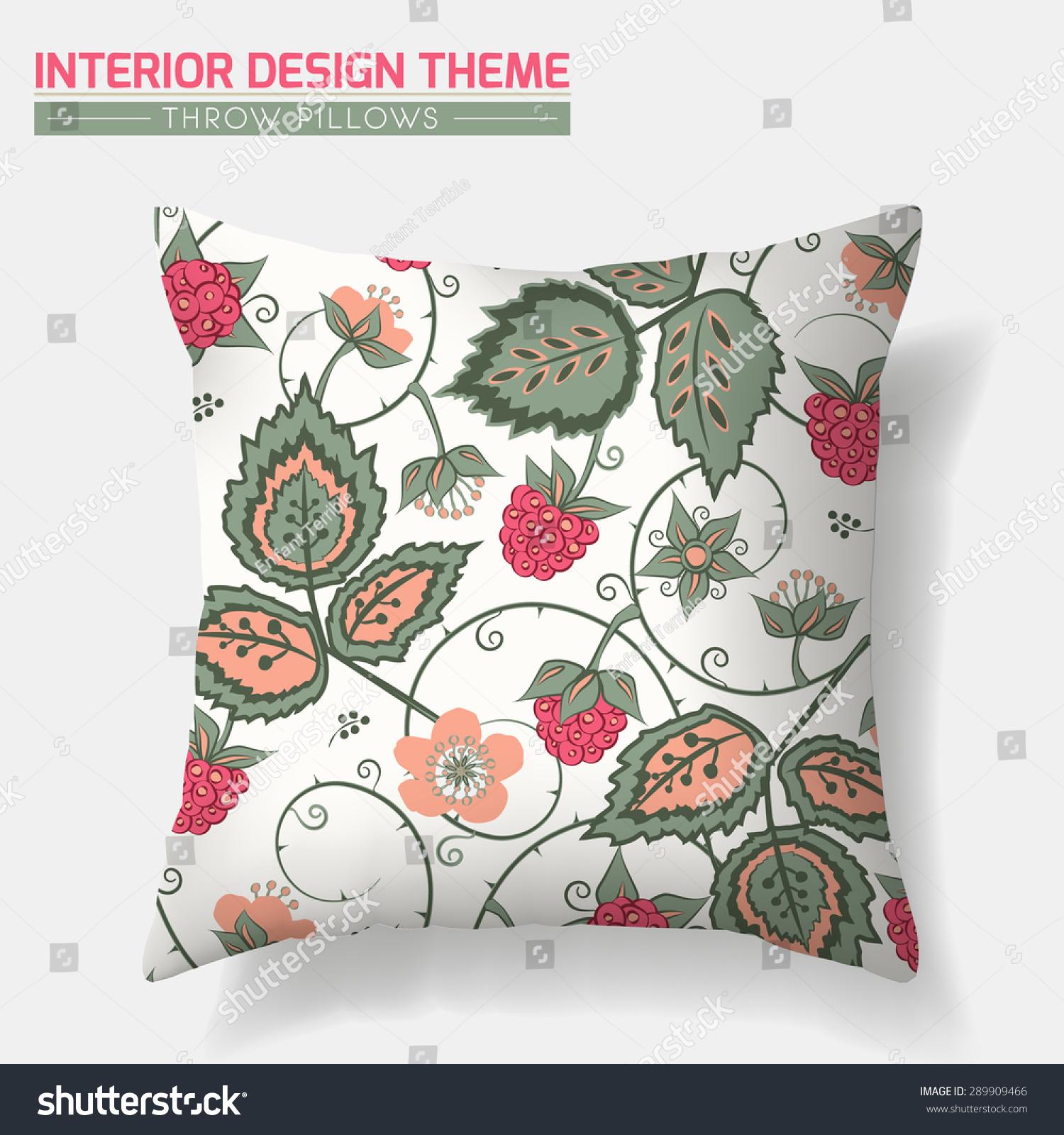 Decorative Floral Throw Pillow Design Vector Stock Vector