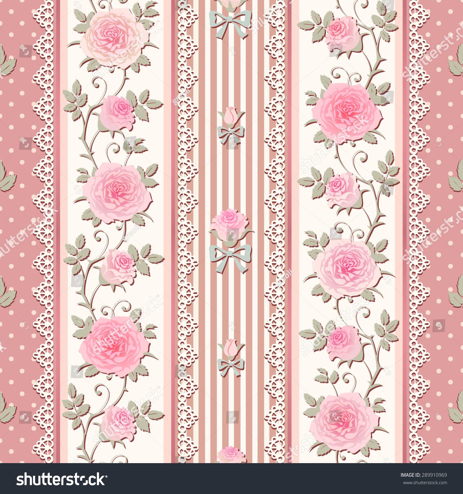 Seamless Pink Floral Background Shabby Chic Style Patterns With Roses Laces And Bows