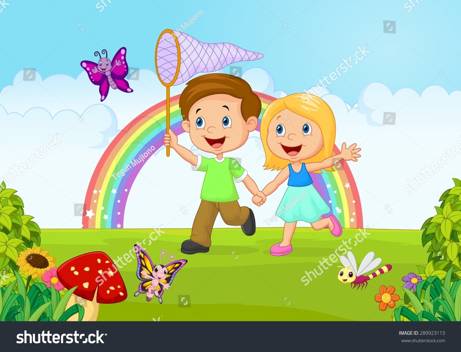 Cartoon Kids Catching Butterfly Jungle Stock Vector Royalty Free - Cartoons-images-for-kids