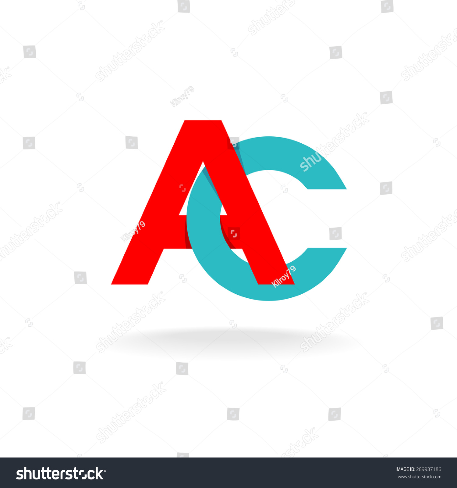 c letters monogram logo color flat stock vector 289937186 shutterstock. Black Bedroom Furniture Sets. Home Design Ideas