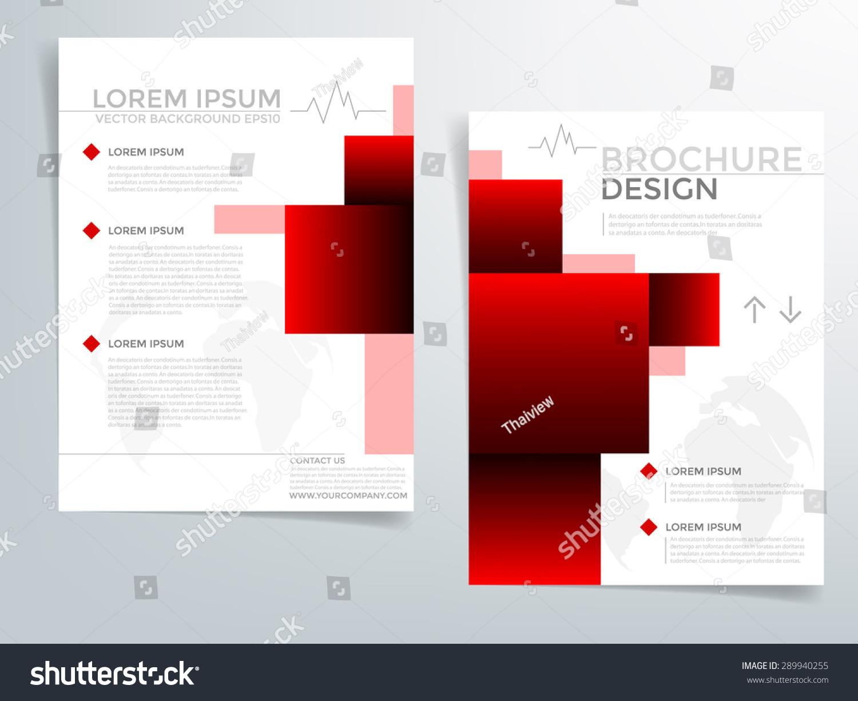 Red brochure template vector background flyer stock vector for Red brochure template