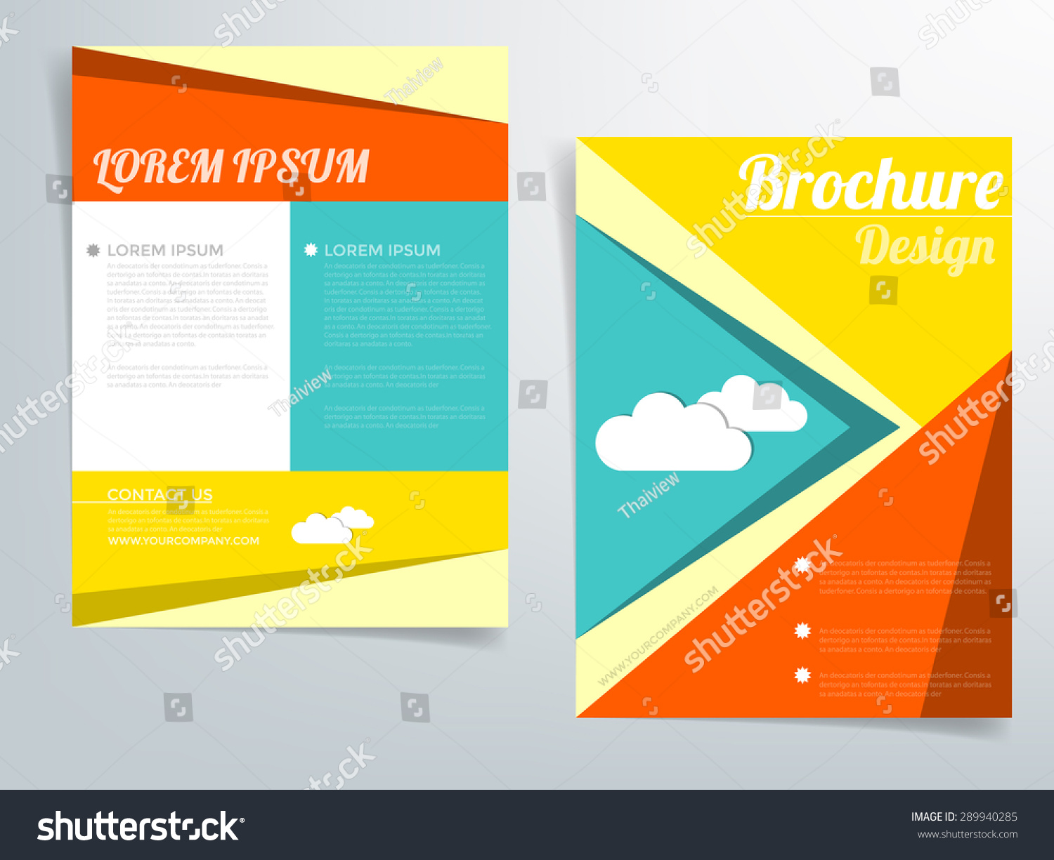 Brochure template vector background flyer design stock for Colorful brochure templates