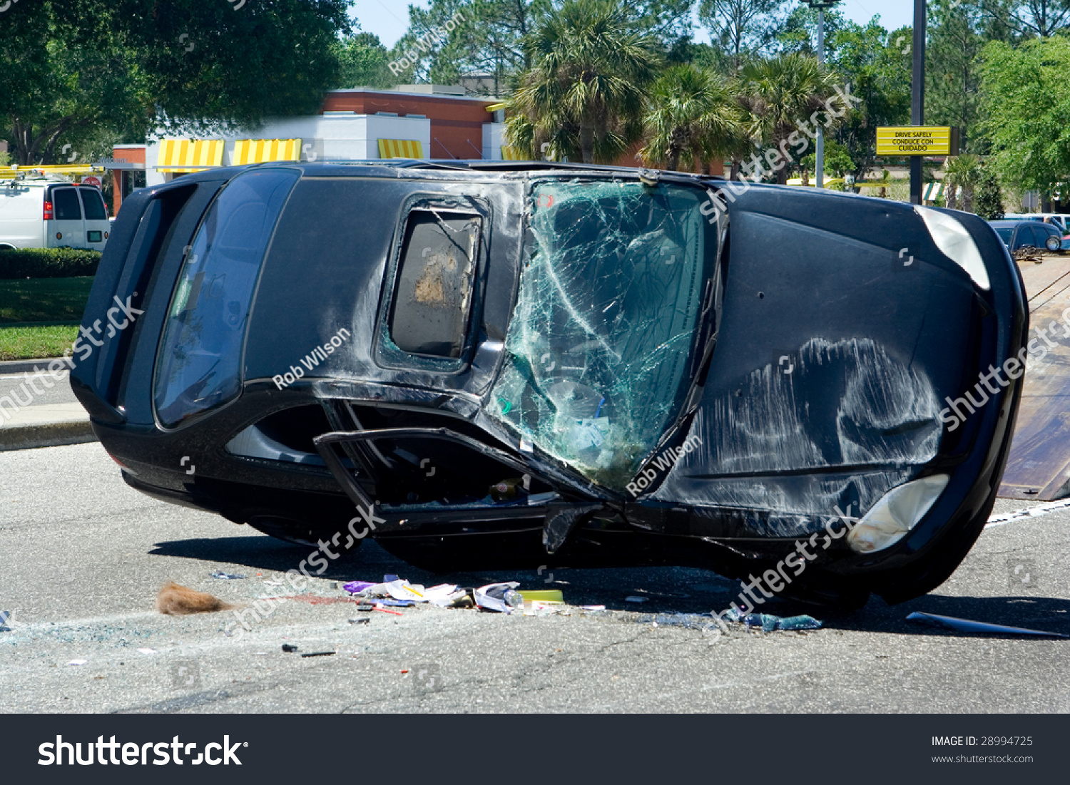 Traffic Accident Resulting Crushed Car Stock Photo