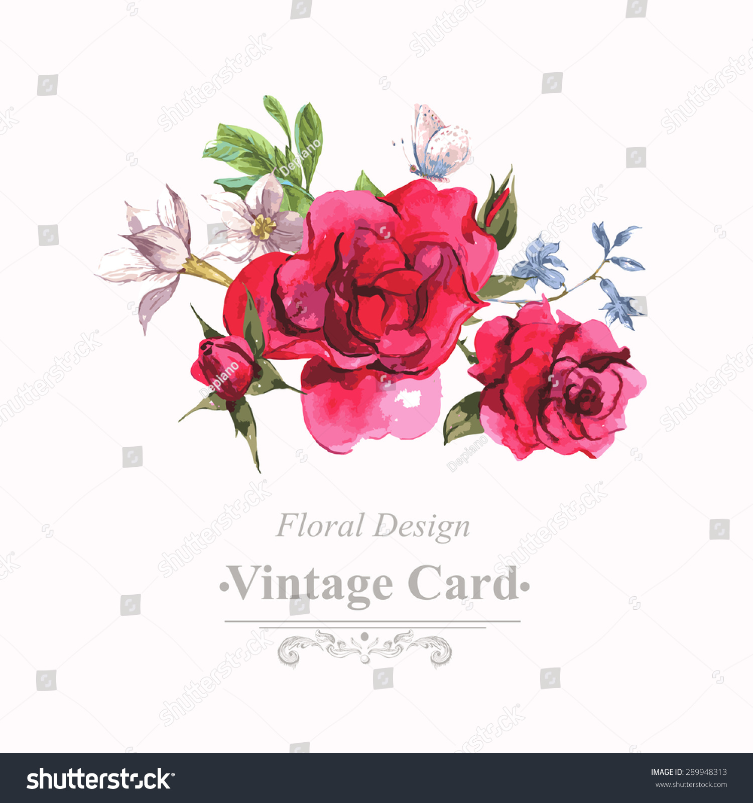 Watercolor Invitation Vintage Card Blooming Red Stock Vector ...