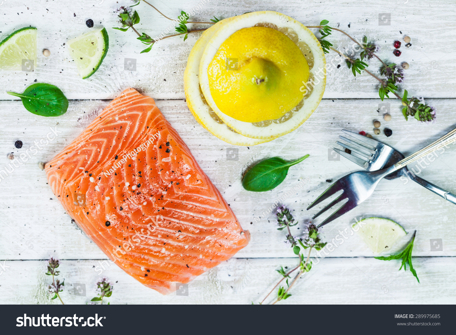Top view delicious portion raw salmon stock photo for Aromatic herb for fish