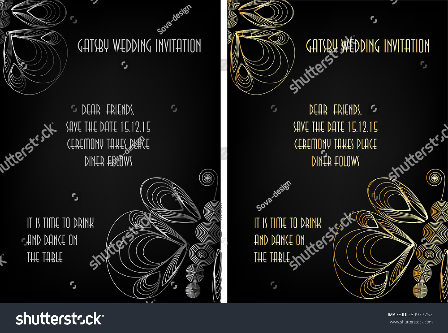 Art deco great gatsby wedding theme stock vector 289977752 art deco great gatsby wedding theme invitation template stopboris Image collections