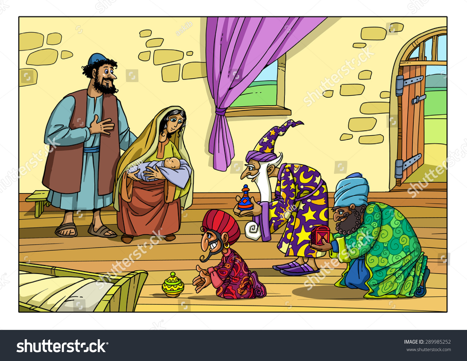 Astrologers East Brought Gift Baby Jesus Stock Illustration ...