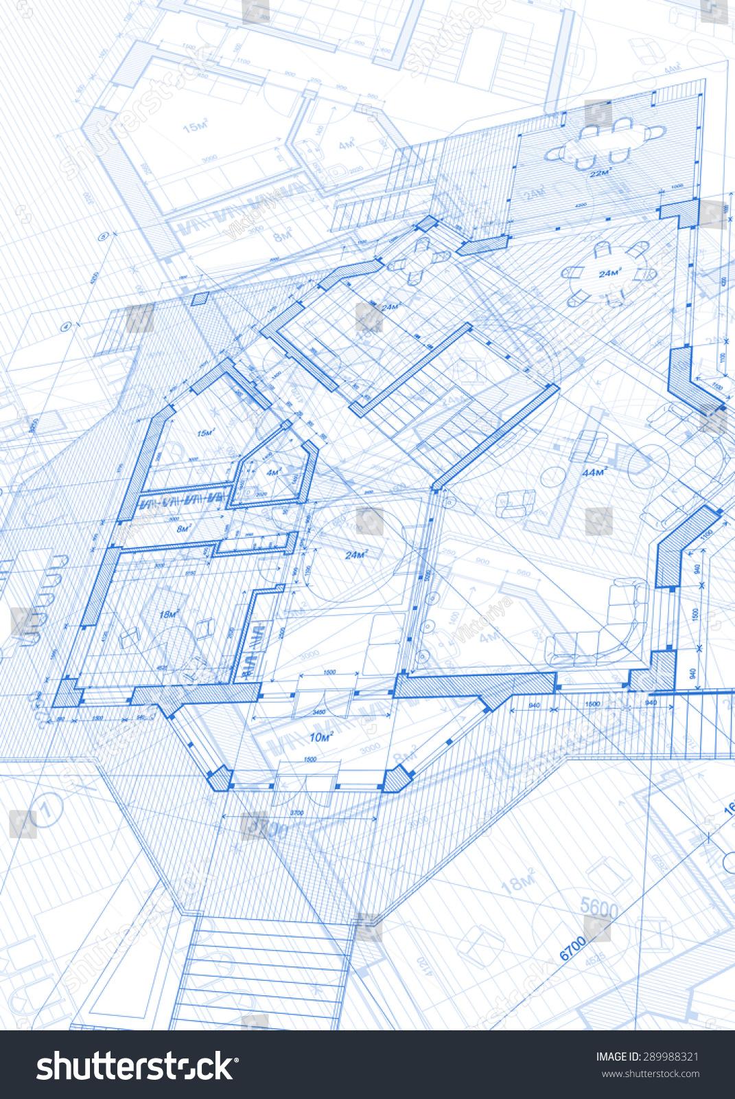 Architecture Design Blueprint Vector Illustration Stock