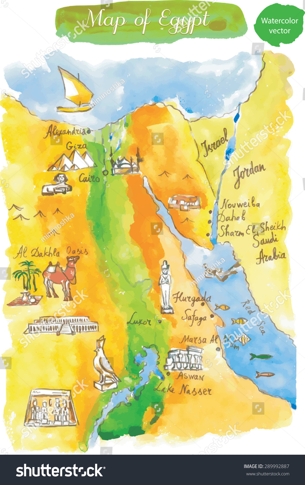 Map Attractions Egypt Watercolor Hand Drawn Stock Vector - Map of egypt landmarks