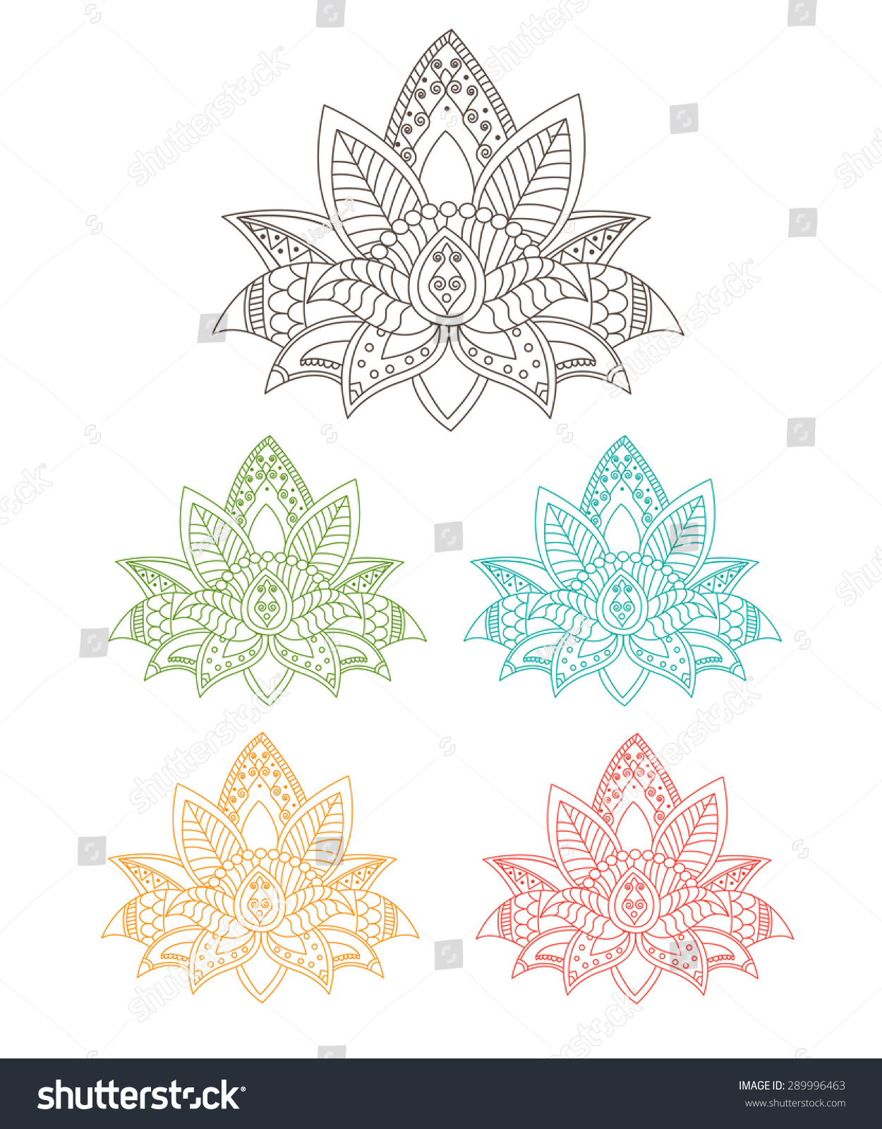 Beautiful Lotus Ornament Vector Yoga Hand Stock Vector 289996463