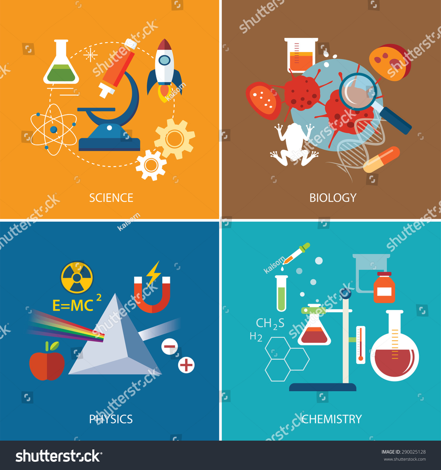 Science Physics From: Science Concept Physics Chemistrybiology Flat Design Stock