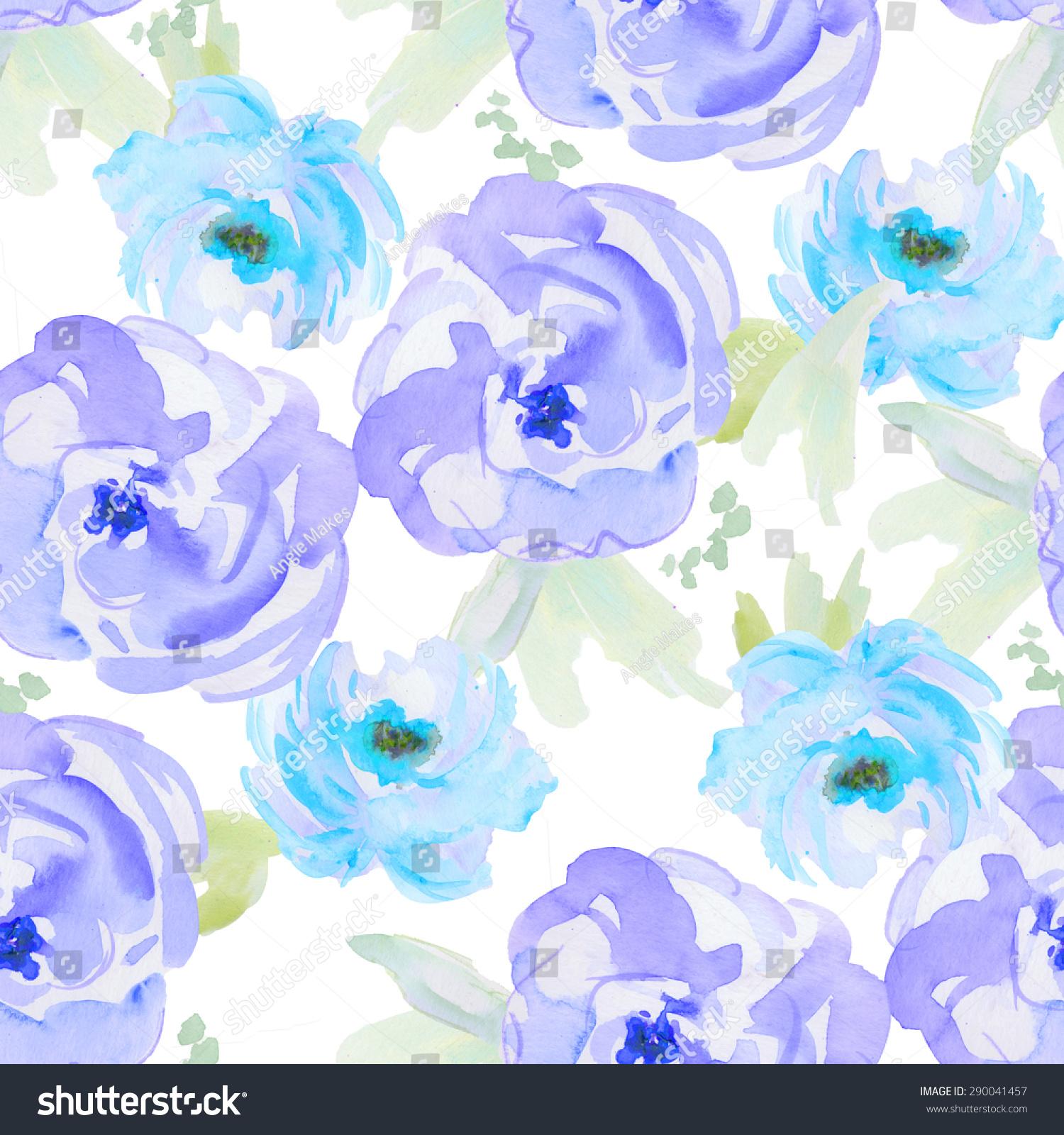 modern watercolor flower pattern blue watercolour stock