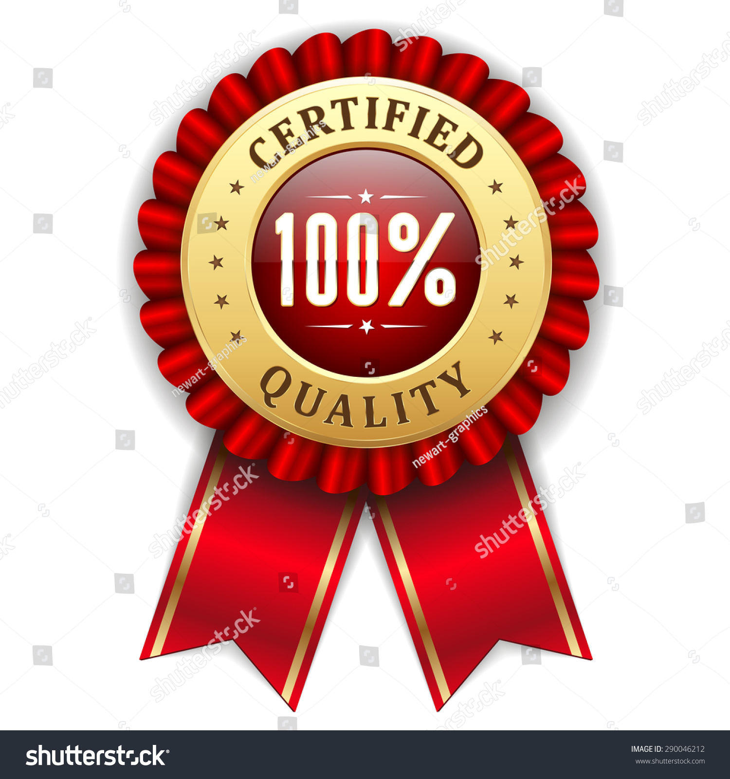 gold 100 percent certified quality badge stock vector 290046212
