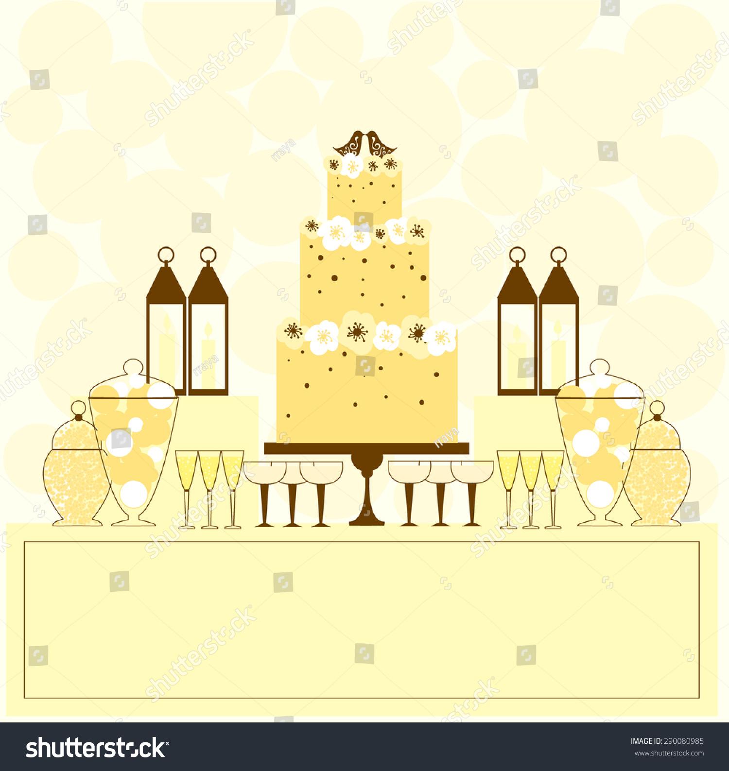 Wedding Cake Dessert Table Vector Illustration Stock Vector (Royalty ...