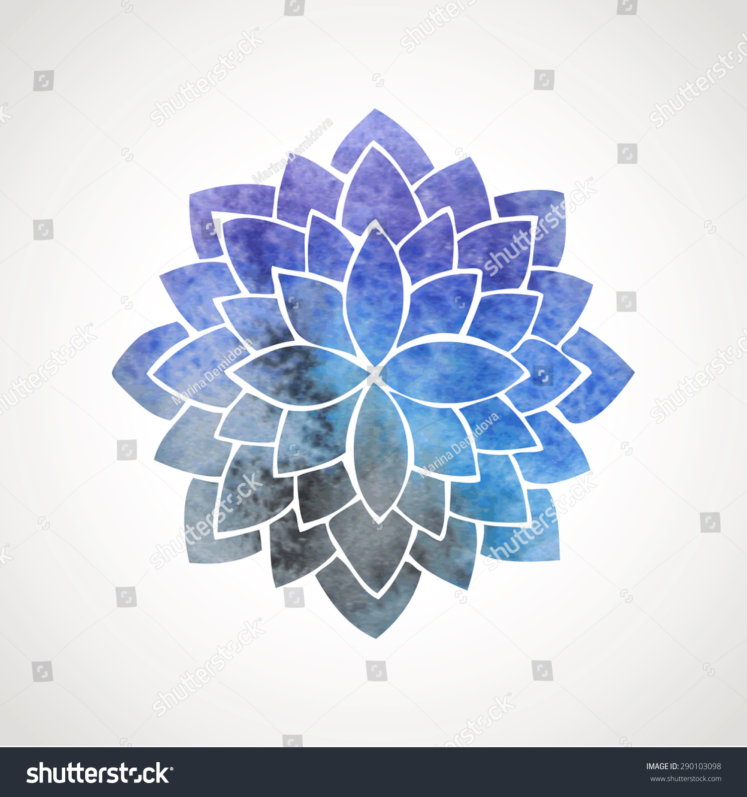 Watercolor Lotus Flower Space Background Symbol Stock Vector