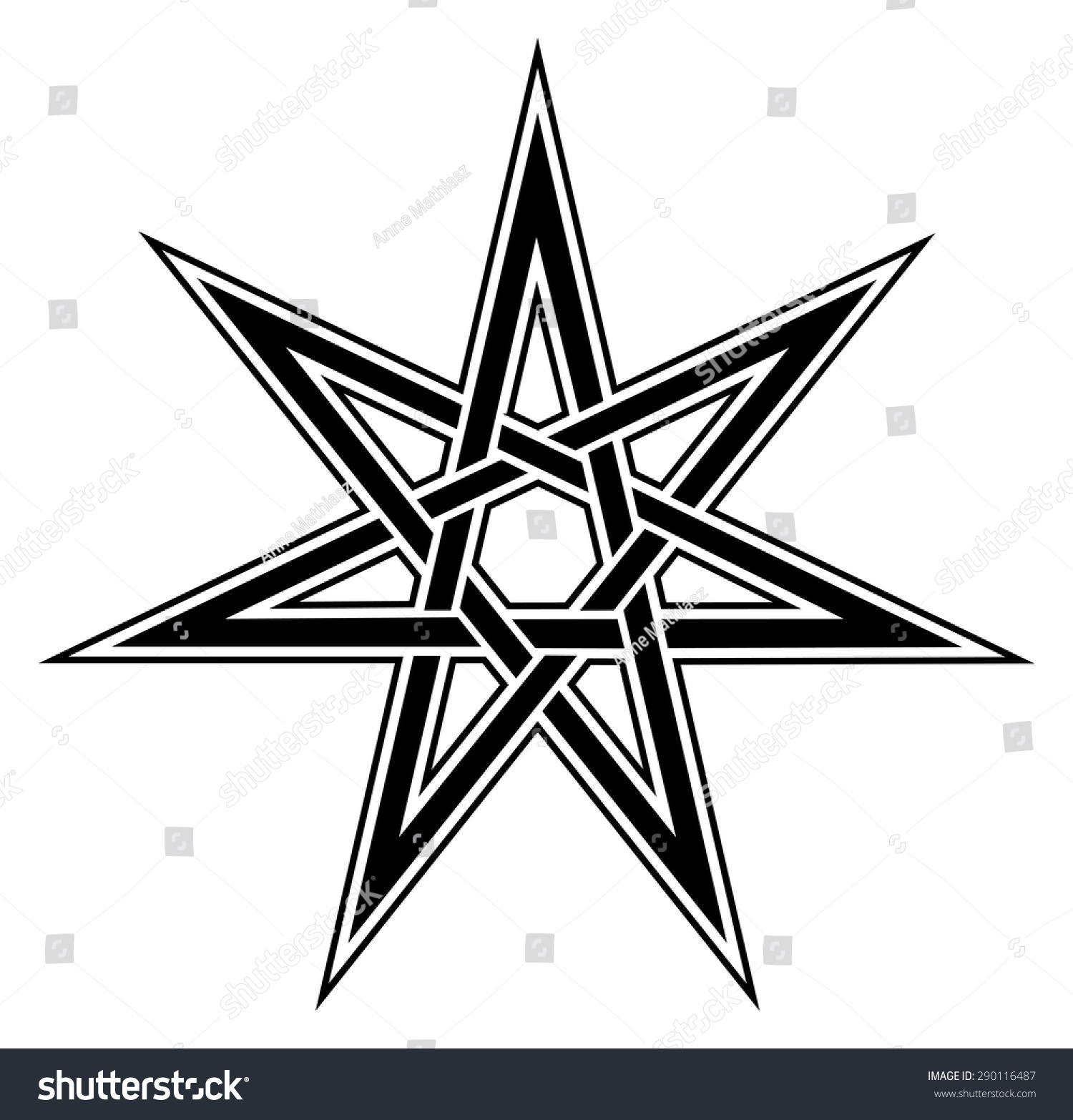 Fairy Star Elven Heptagram Magical Symbol Stock Vector 290116487