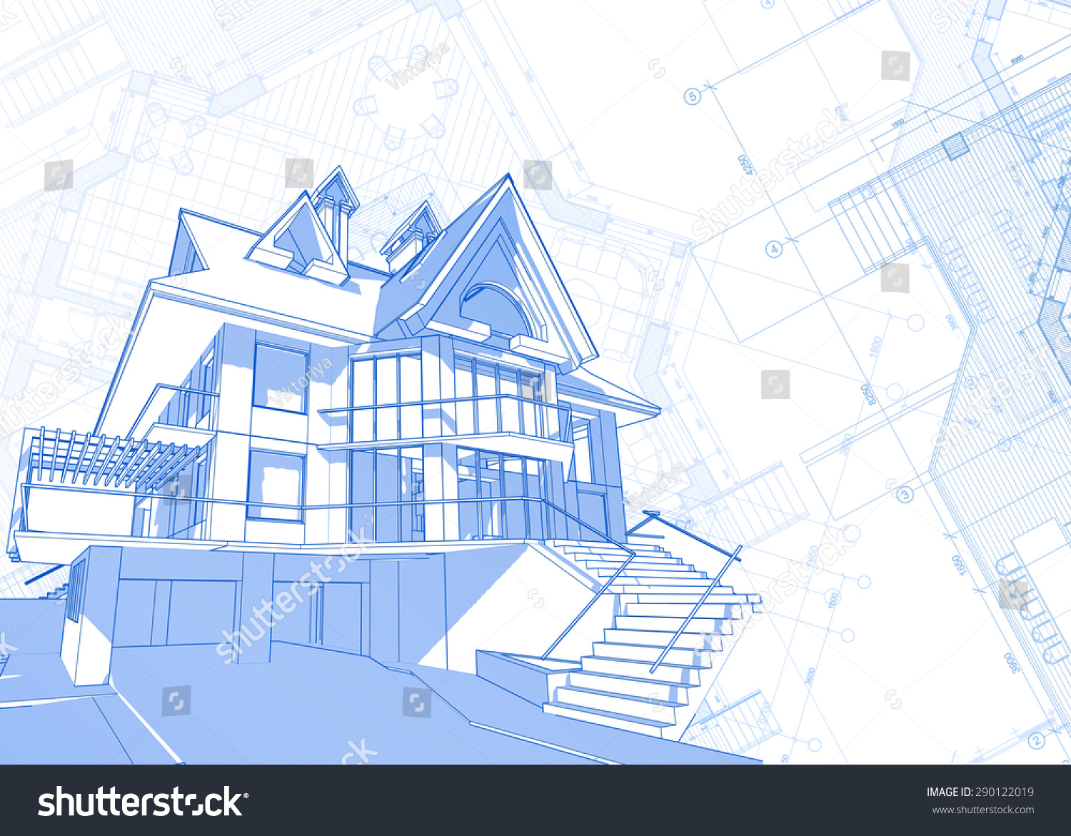 Architecture design blueprint house plans vector for Architecture blueprint