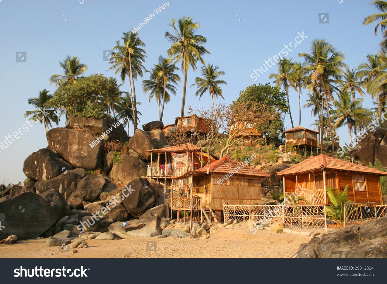 Bungalows on palolem beach goa india