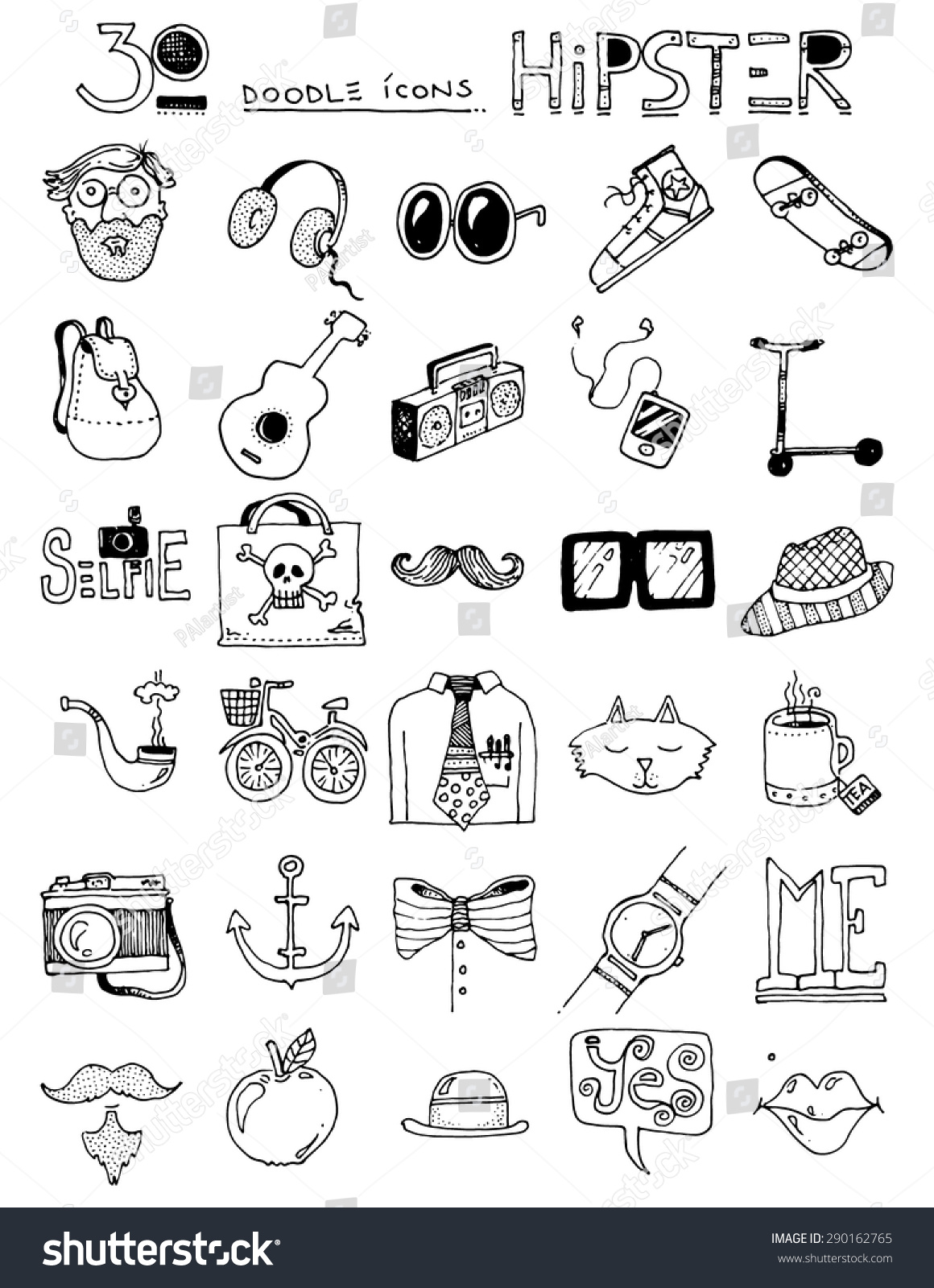 thirty doodle icons HIPSTER items sunglasses bow tie hat cat ...