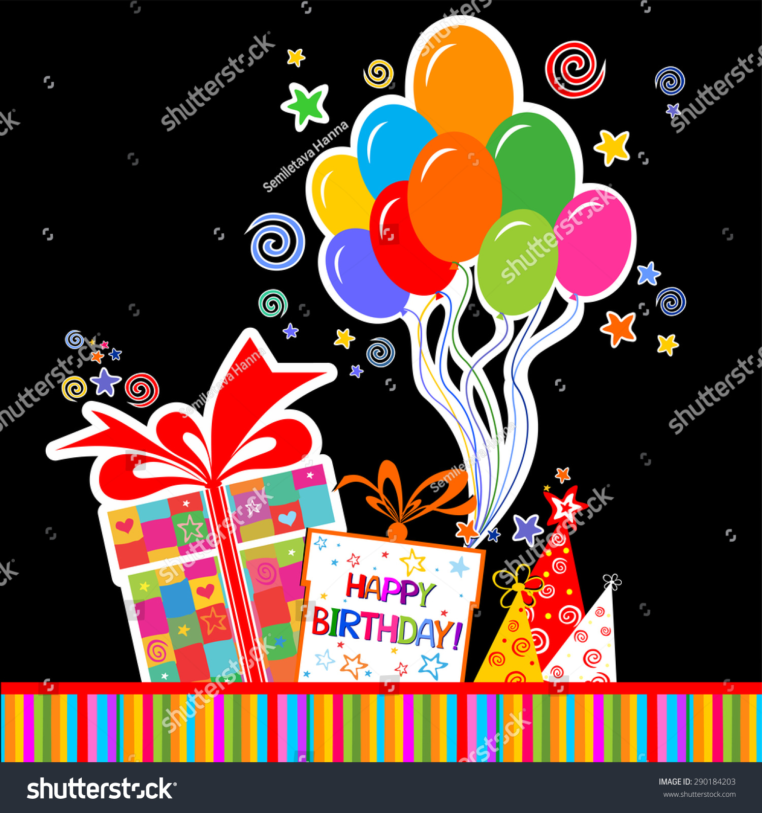 Happy Birthday Card Celebration Black Background With Gift Boxes Balloon Colored Carnival