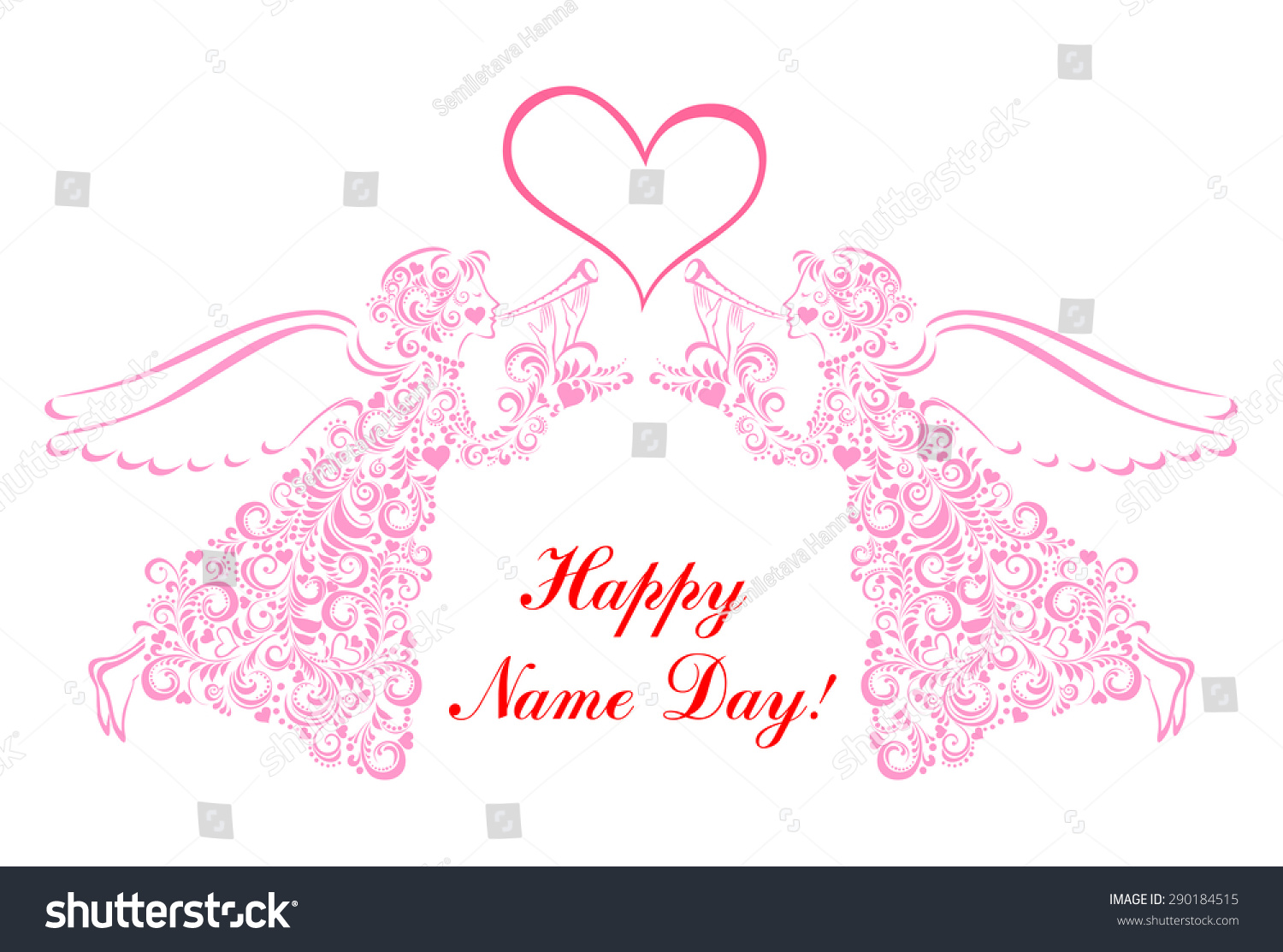 Name day greeting card angel vector stock vector royalty free name day greeting card with angel vector illustration m4hsunfo