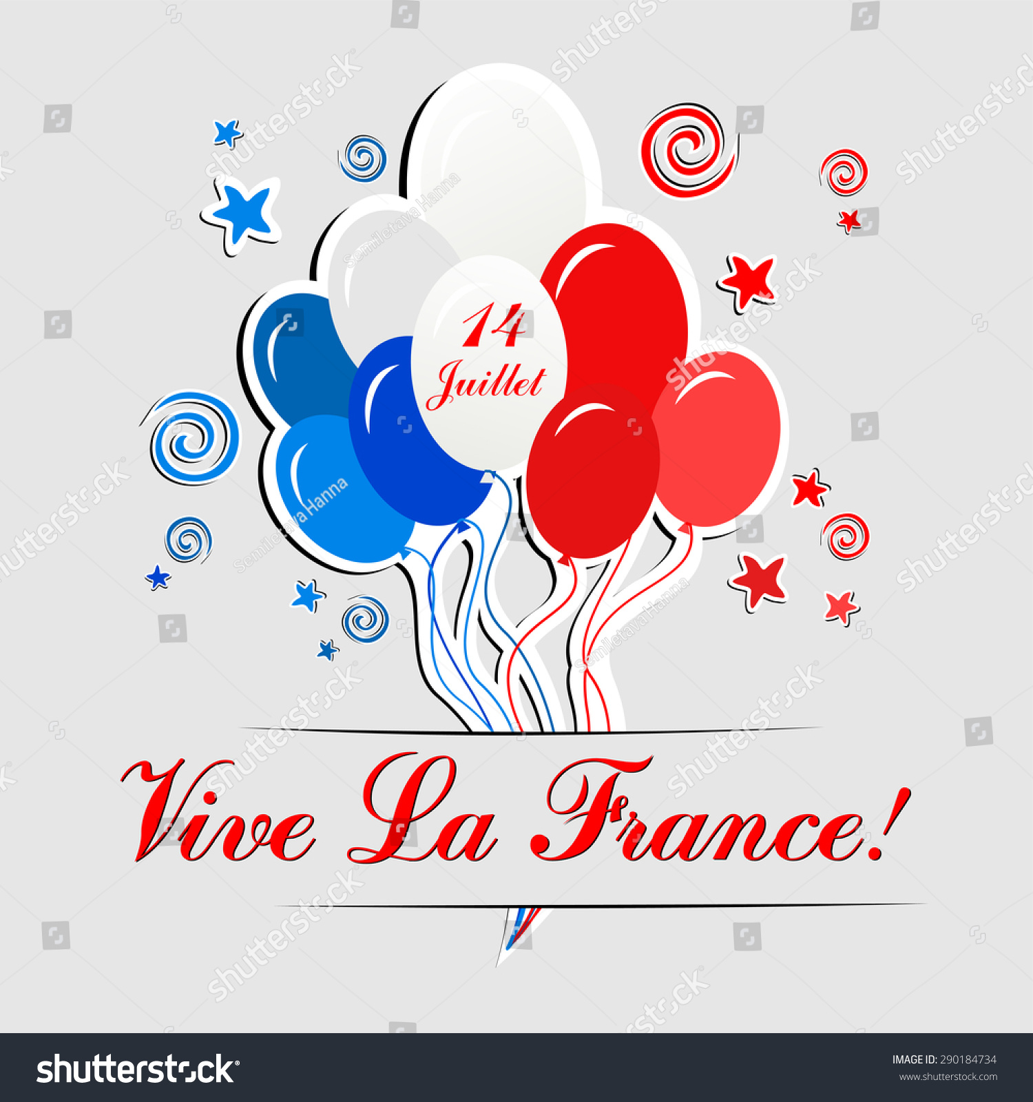 14th July Bastille Day France Happy Stock Vector 290184734 ...
