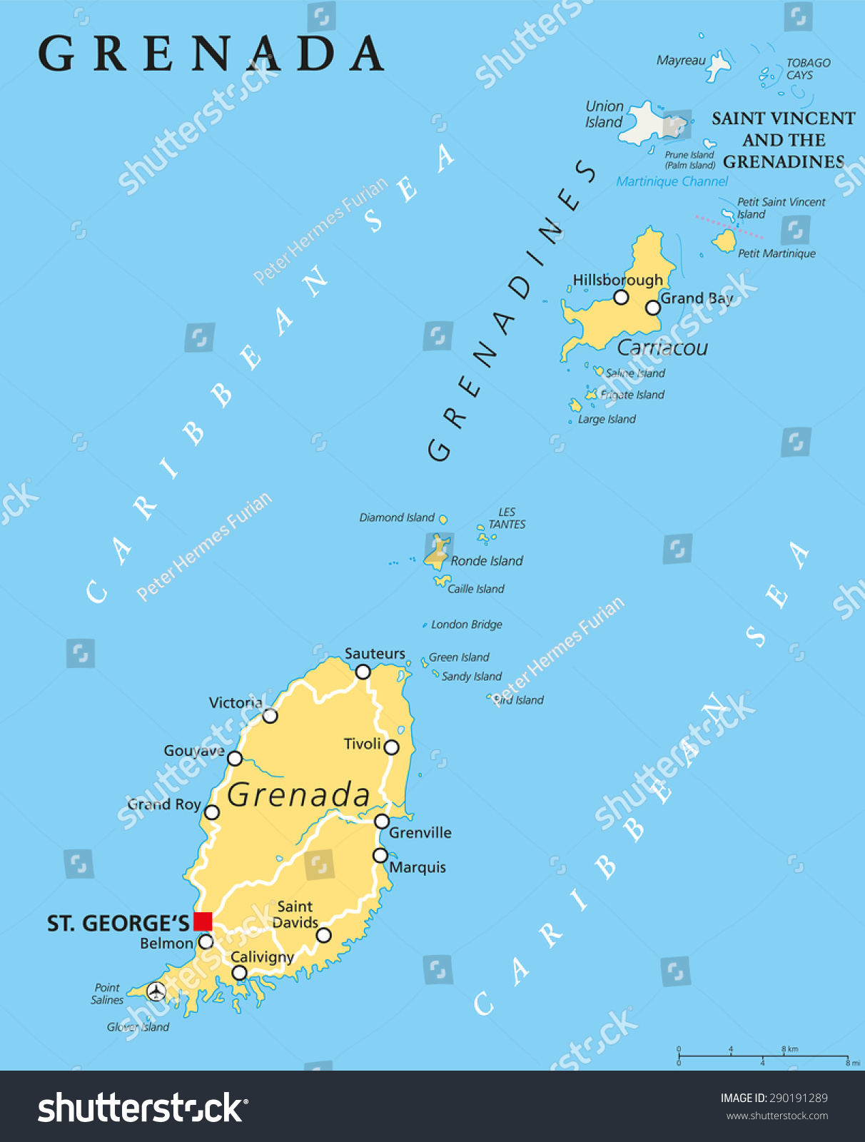Grenada Political Map Capital St Georges Stock Vector 290191289