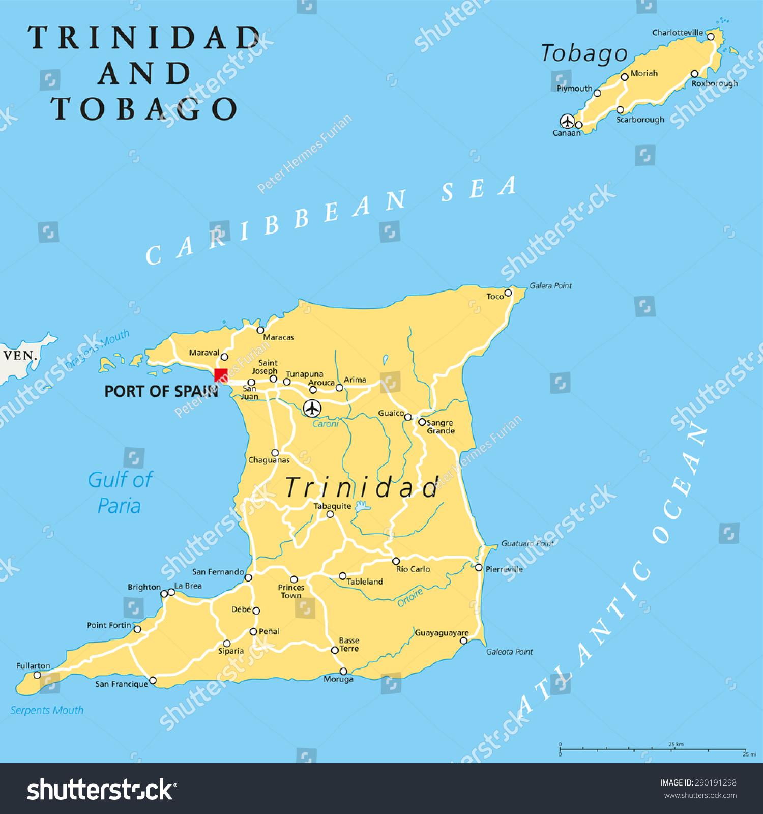 Tobago Island: Trinidad Tobago Political Map Capital Port Stock Vector