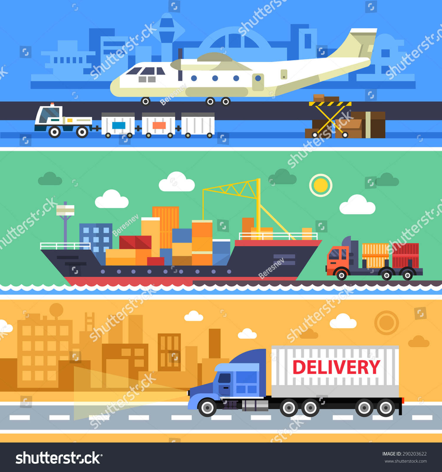 shipping transport delivery land water air stock vector 290203622