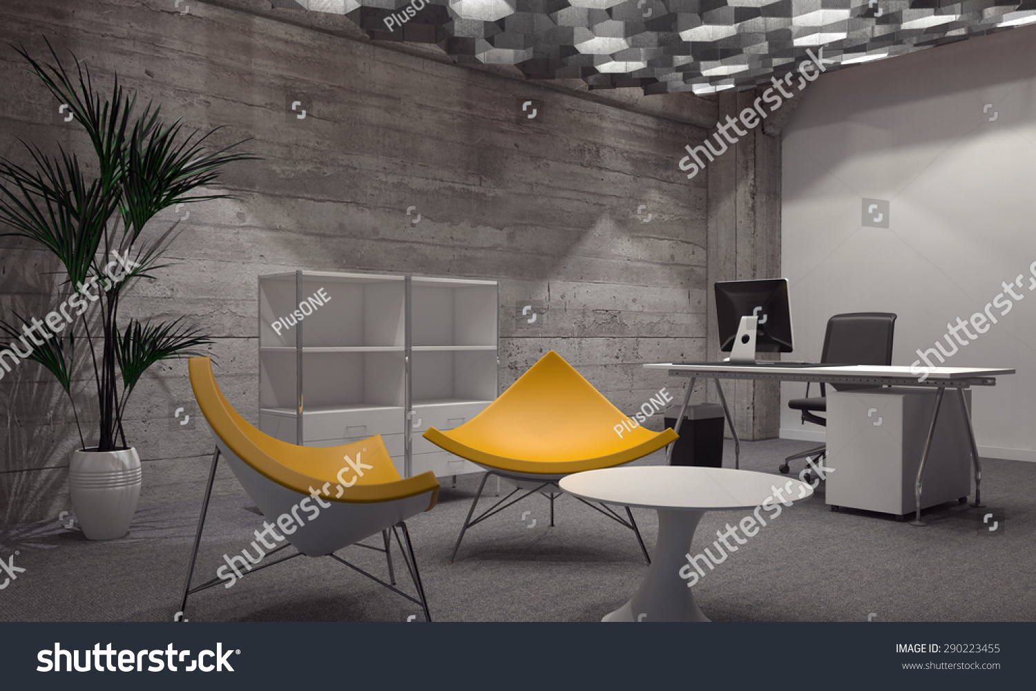 interior modern room furnished contemporary officeのイラスト素材