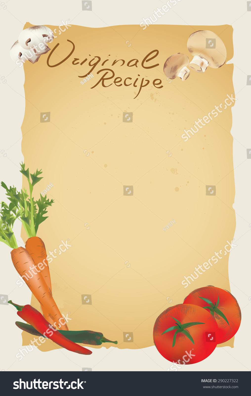 Recipe Blank Page Template Vegetables Stock Vector Royalty Free