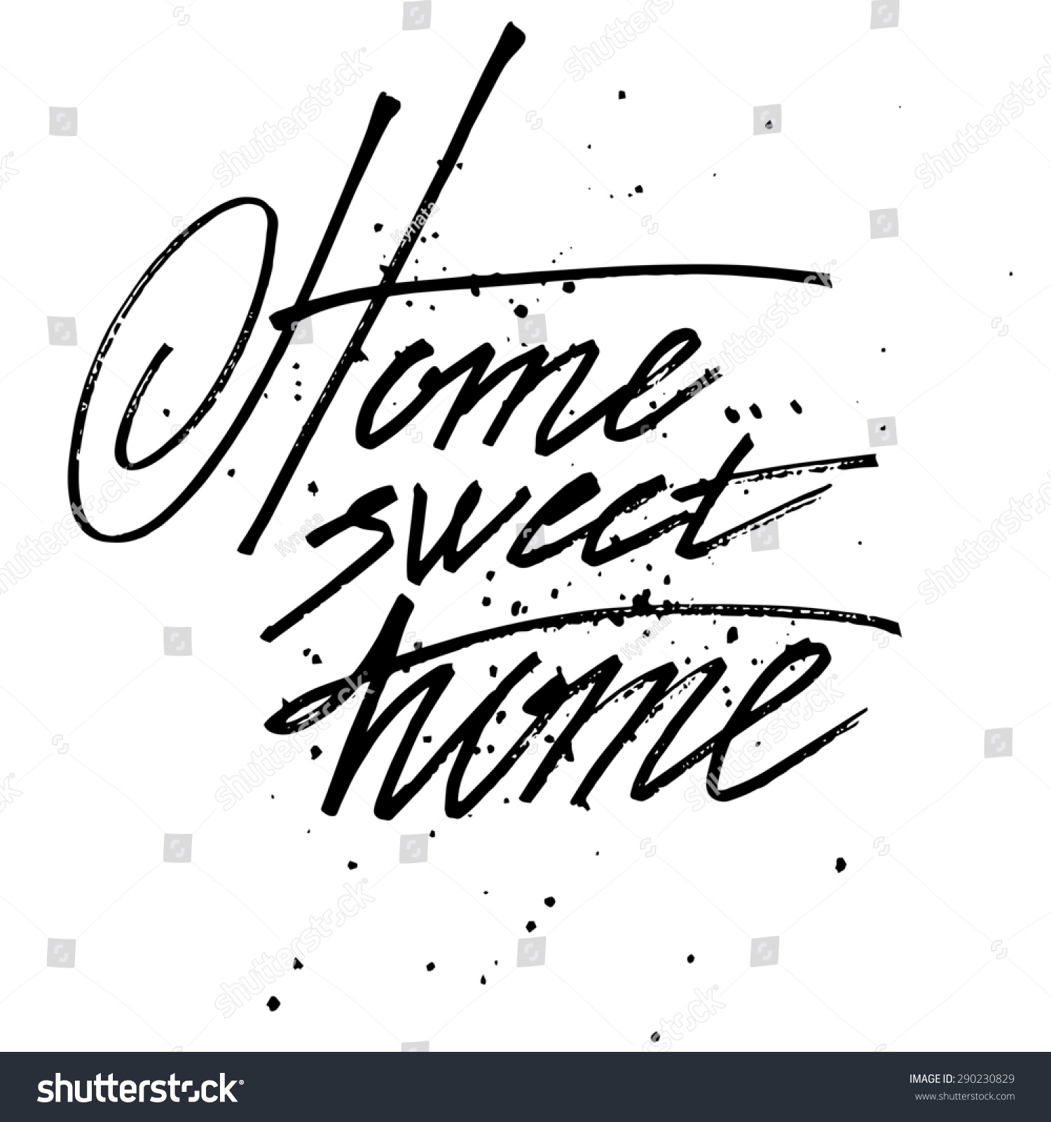 Sign Handmade Calligraphy Home Sweet Home Stock
