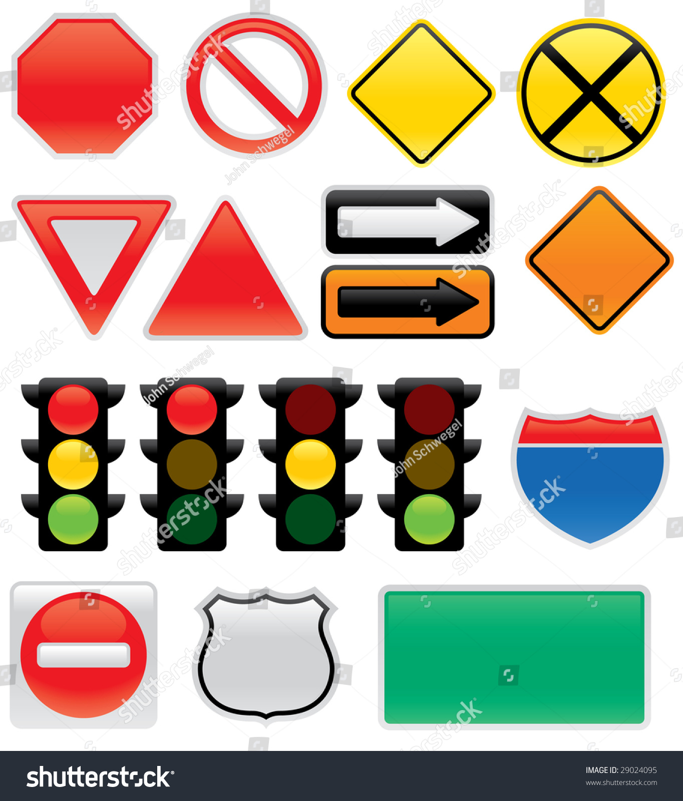 Road Barricade Signs Stock Vector A Collection Of Vector Traffic Signs
