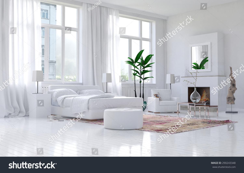 Contemporary spacious white bedroom interior monochromatic for Monochromatic decor