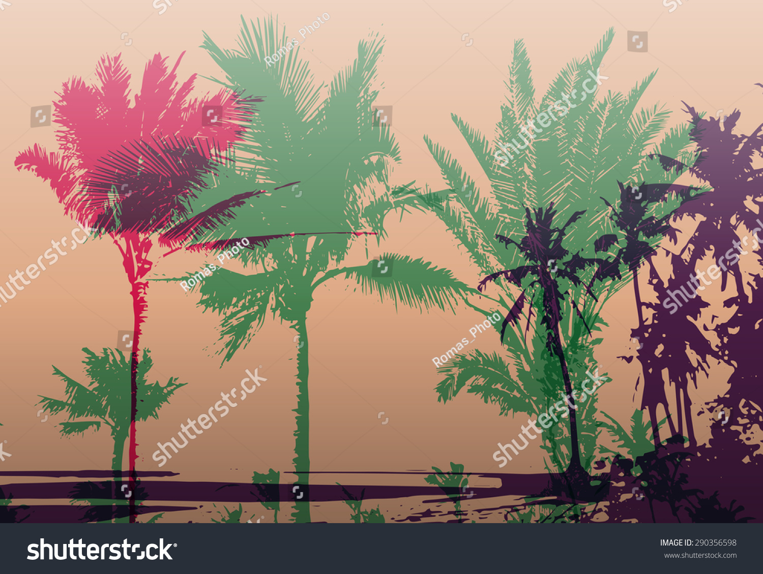 Colorful Background Silhouette Palm Trees On Stock Vector 290356598 ...