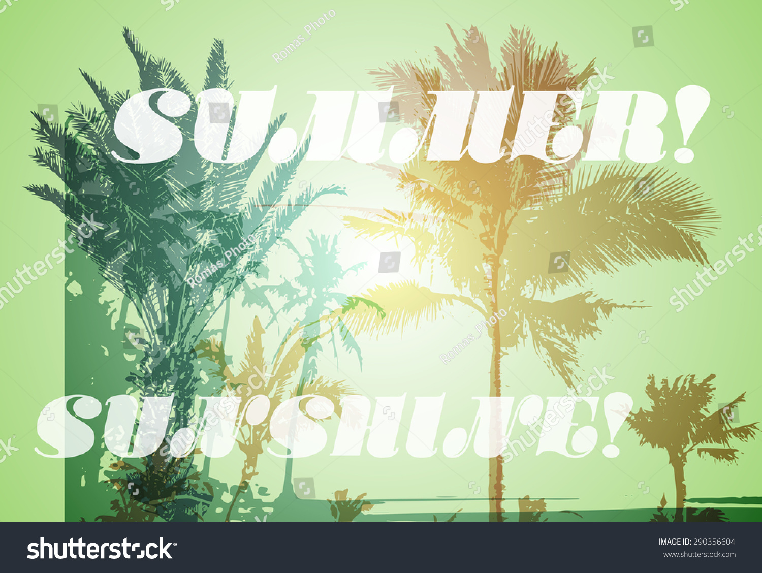Colorful Background Silhouette Palm Trees On Stock Vector 290356604 ...