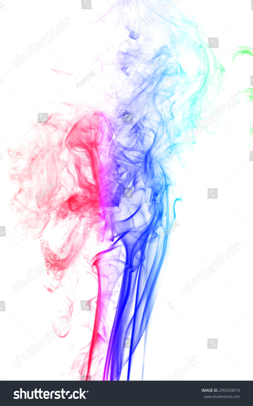 abstract colorful smoke on white background stock photo