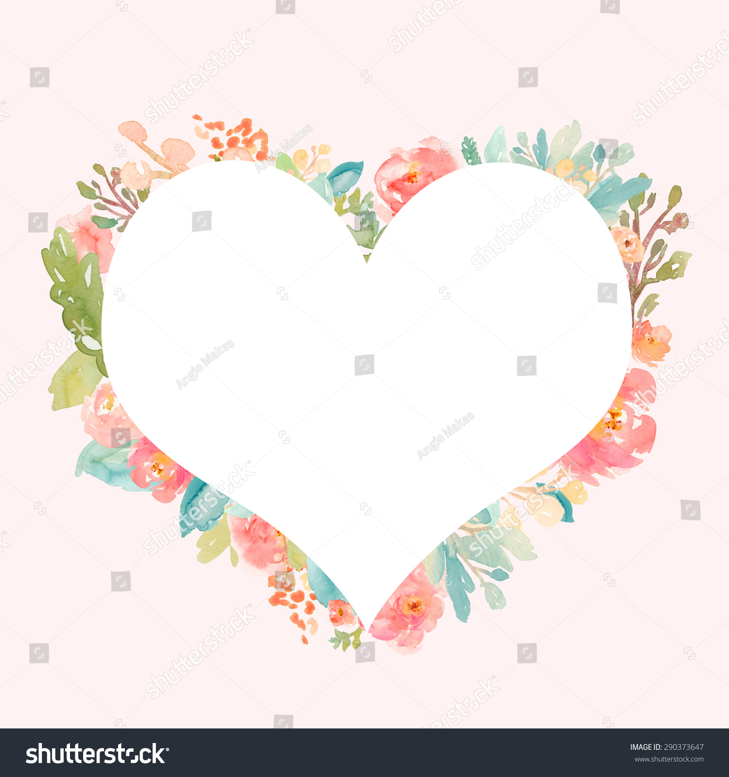 painted watercolor heart frame heart background watercolor flower heart wreath