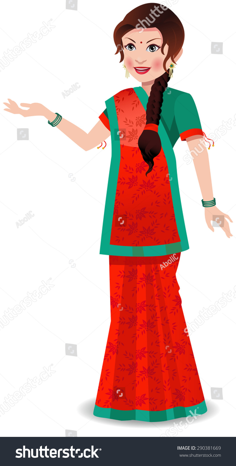 Indian Woman Wearing Saree Worn State Stock Vector 290381669 Shutterstock